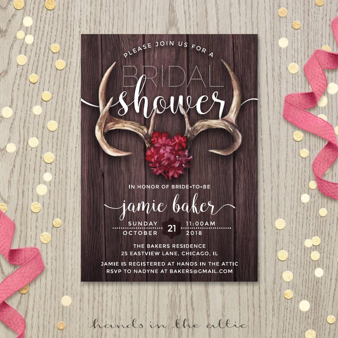 rustic bridal shower invitation template mason jar wedding