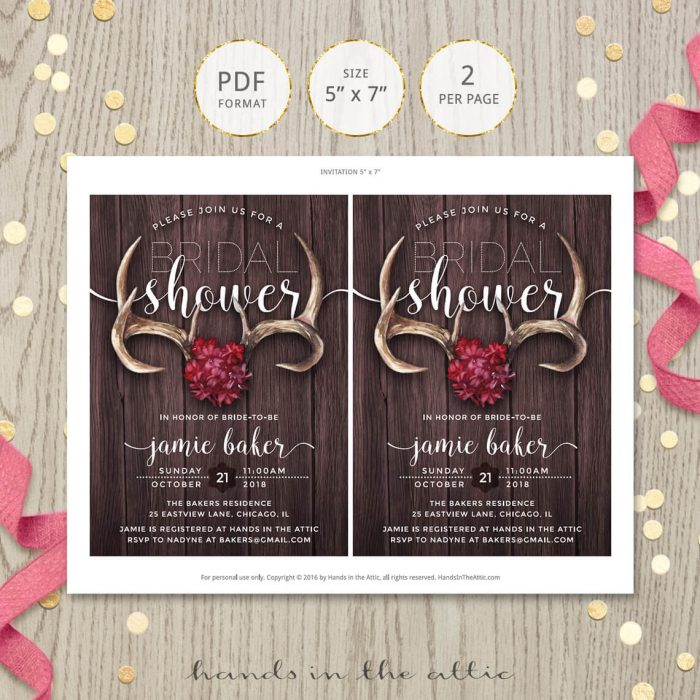 Image for Rustic Antlers Bridal Shower Invitation