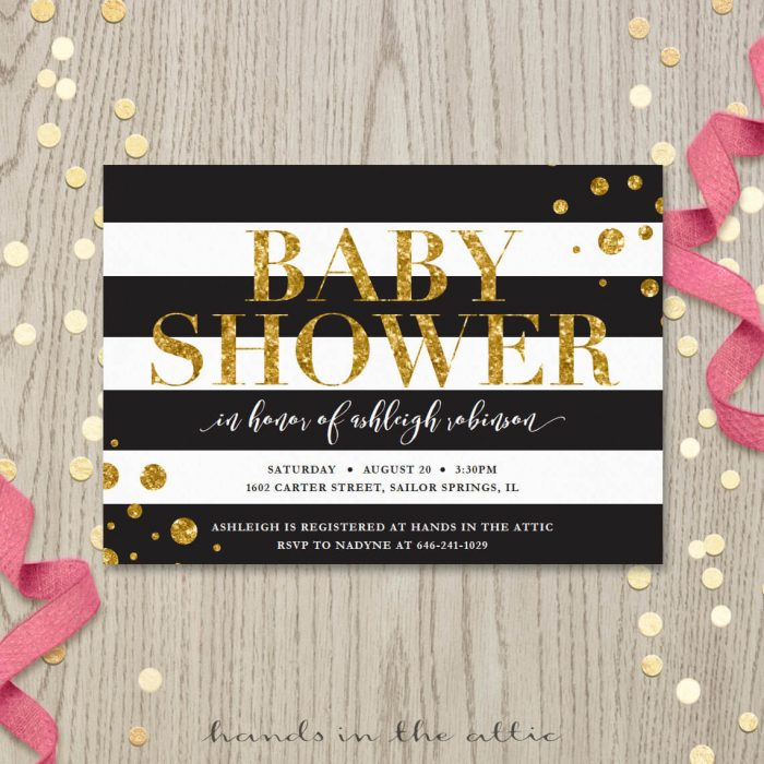 Image for Black & White Stripes Baby Shower Invitation