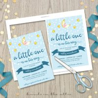Image for Blue Twinkle Stars and Moon Baby Shower Invitation