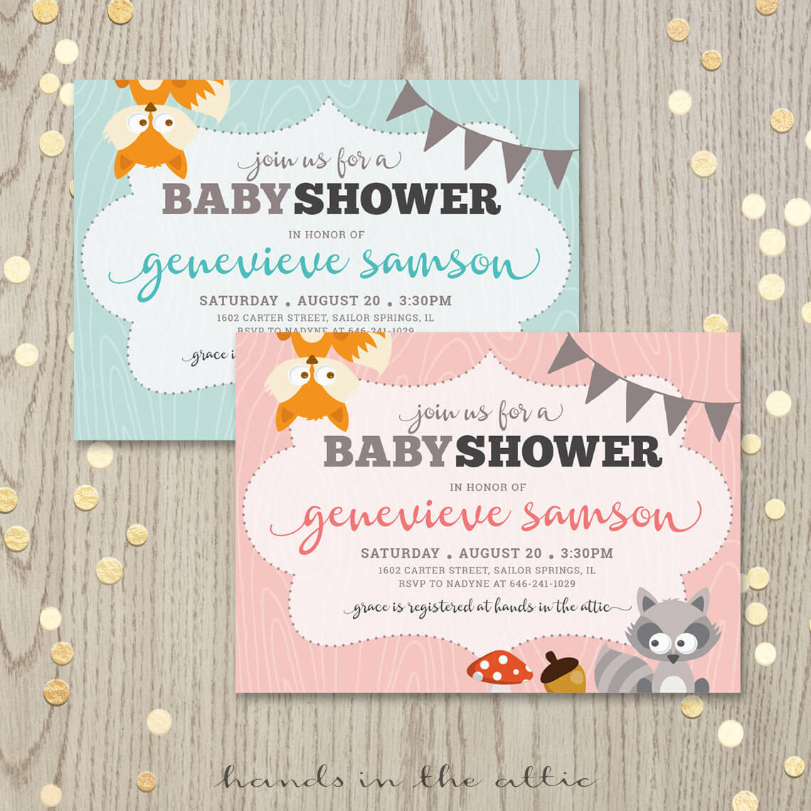 Image For Woodland Animals Baby Shower Invitation