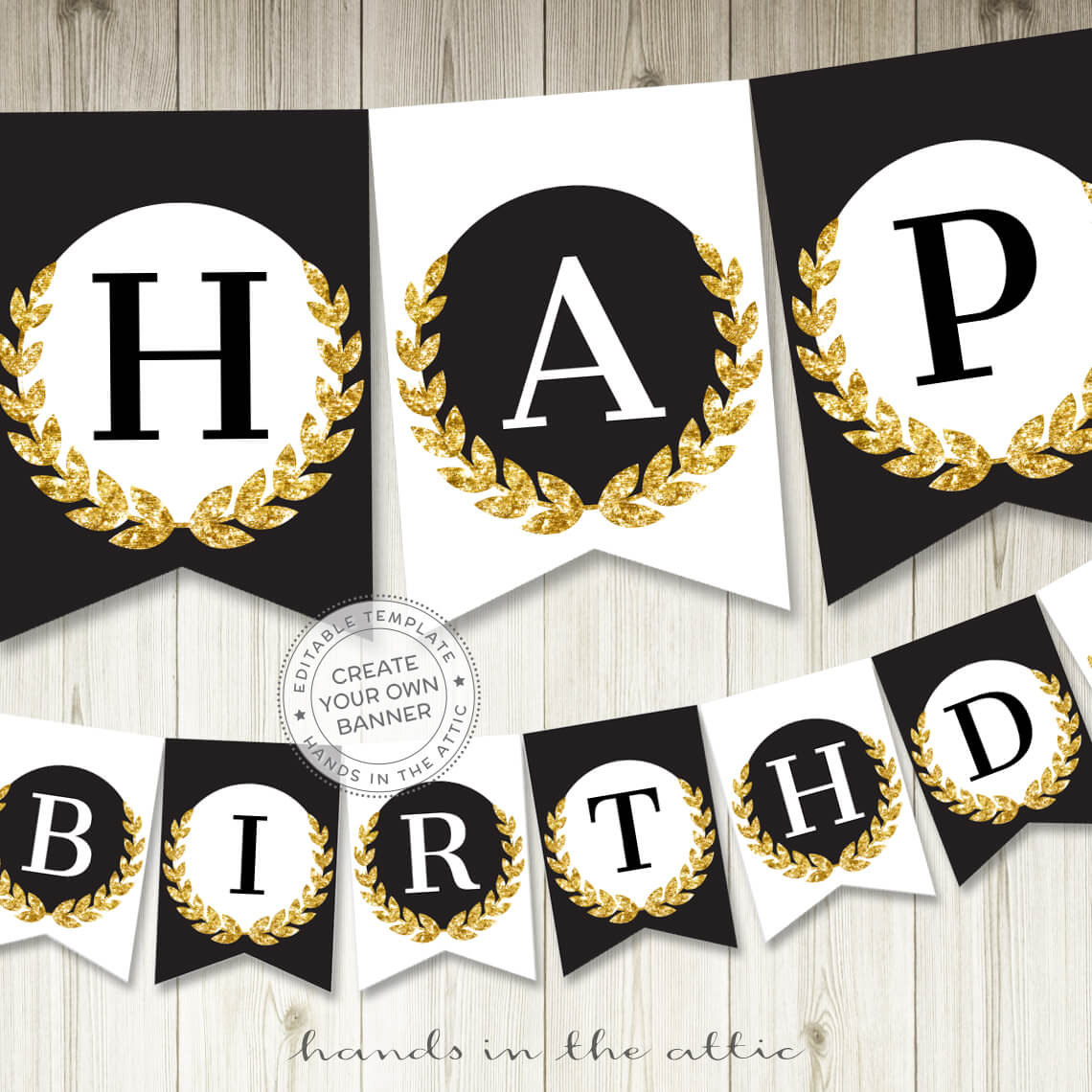 Image for Black & Gold Alphabet Party Banner