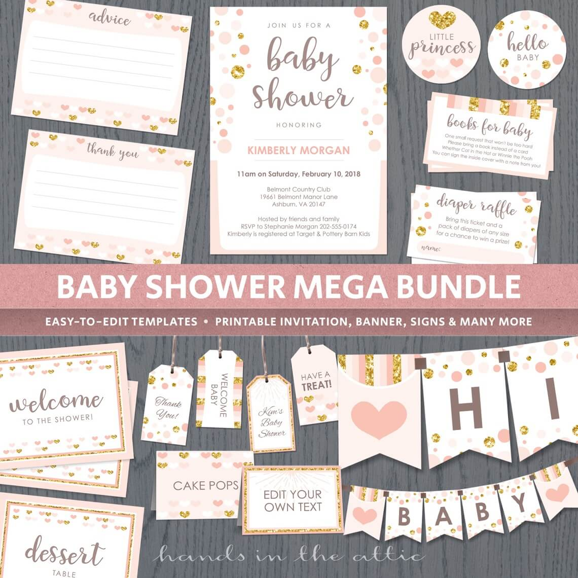 Peach And Gold Baby Shower Package P1