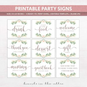 Pink rose floral baby shower signs
