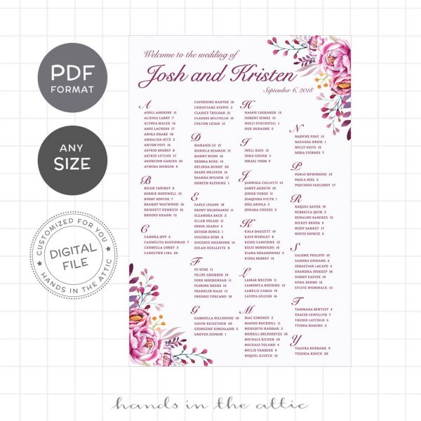 Preview of Floral Wedding Seating Chart