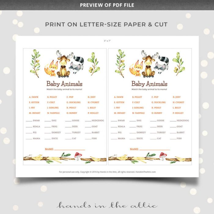 Printable Baby Animals Matching Game Woodland Animals