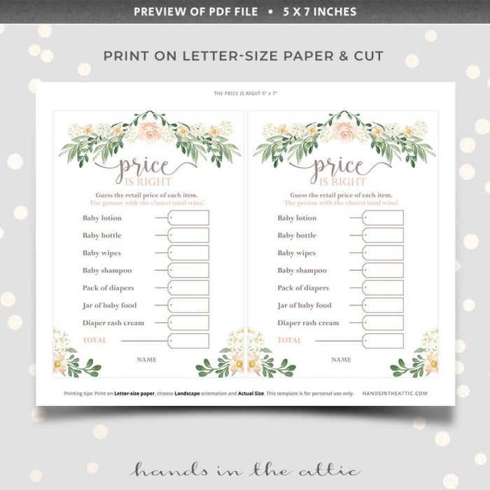 Printable price is right baby shower game pink florals theme
