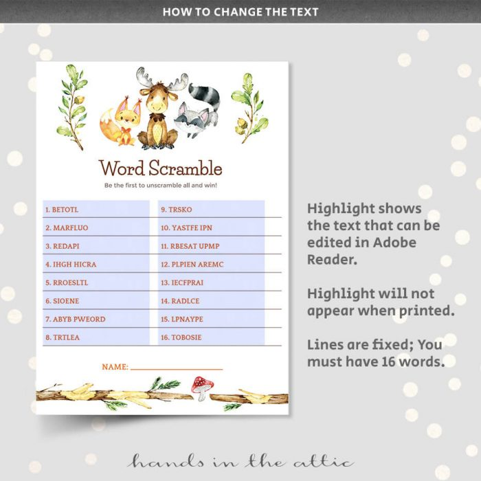 Printable Woodland Animals Word Scramble Game