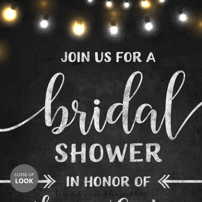 Rustic Bridal Shower Invitation Chalkboard Lights