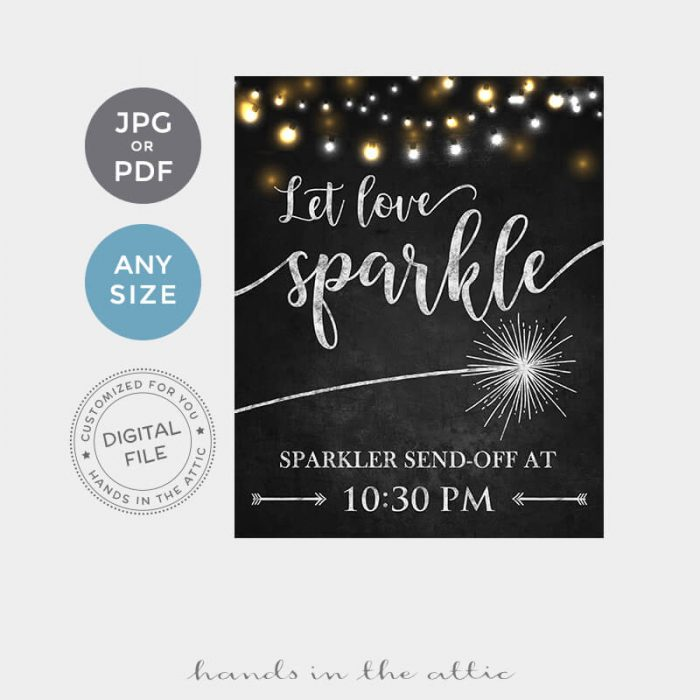 Sparkler Send Off Wedding Sign