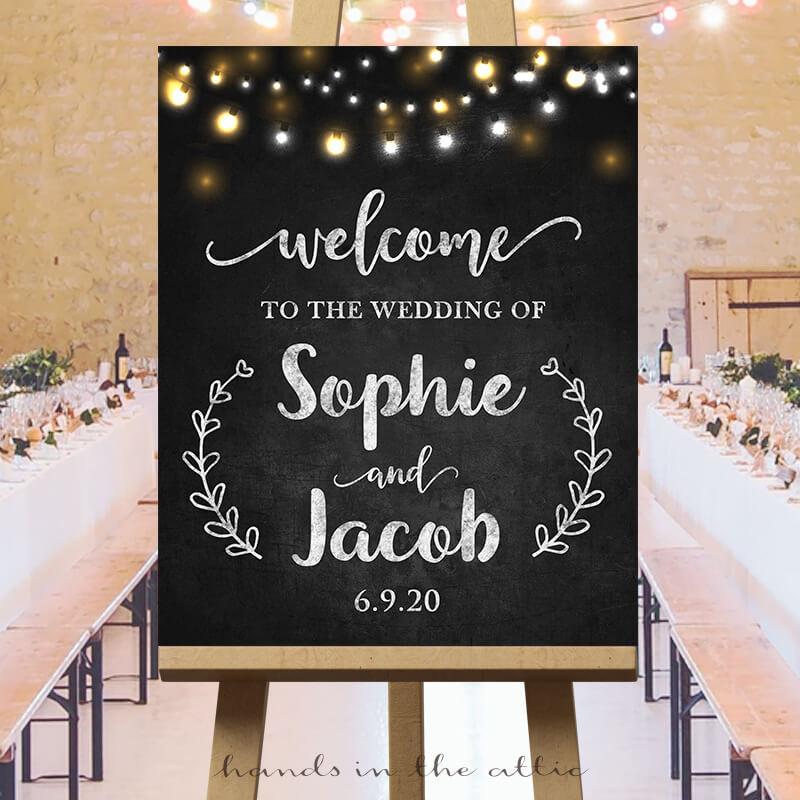 Welcome Wedding Sign Fairy Lights Chalkboard Hands In