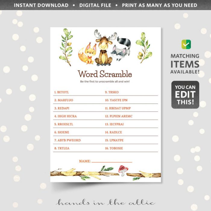 Woodland Animals Word Scramble Game