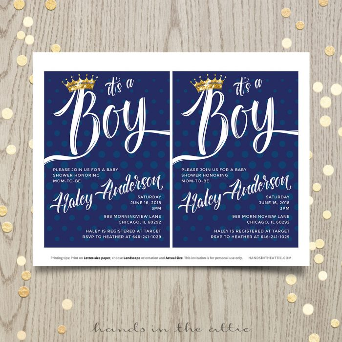 Baby Boy Shower Prince Invitation