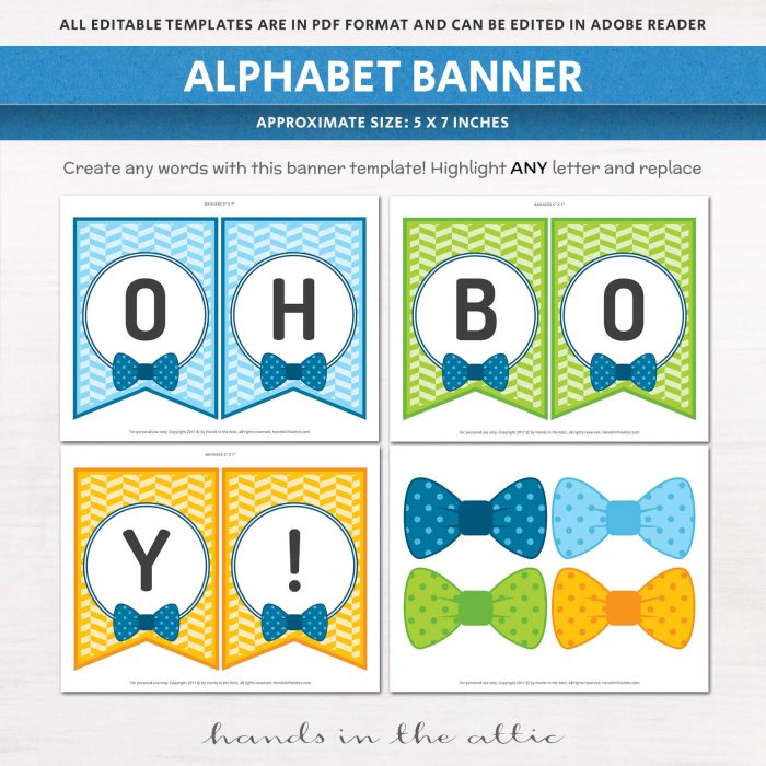 Alphabet banner in our Bow Tie Baby Shower Bundle