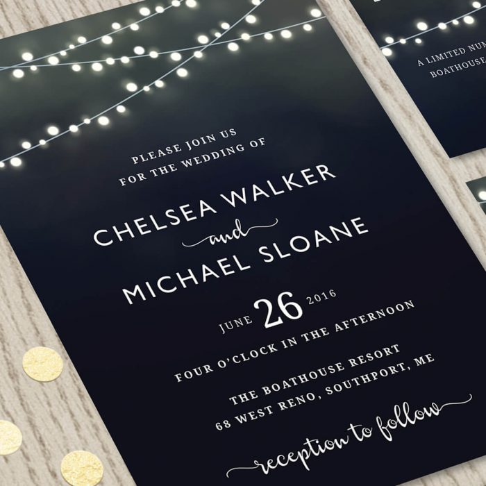 Close-up of Black Wedding Invitation Set