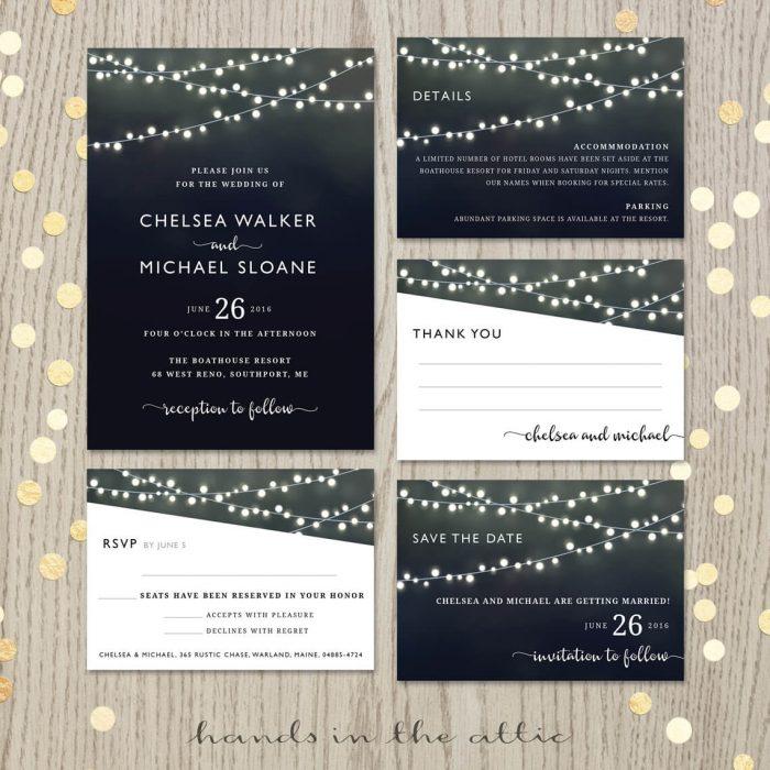 Black Wedding Invitation Set