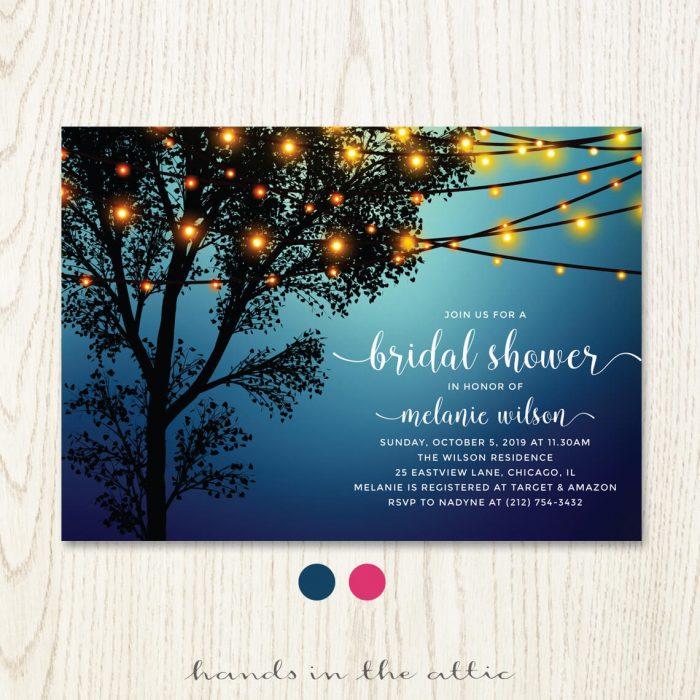 Blue Backyard Bridal Shower Invitation