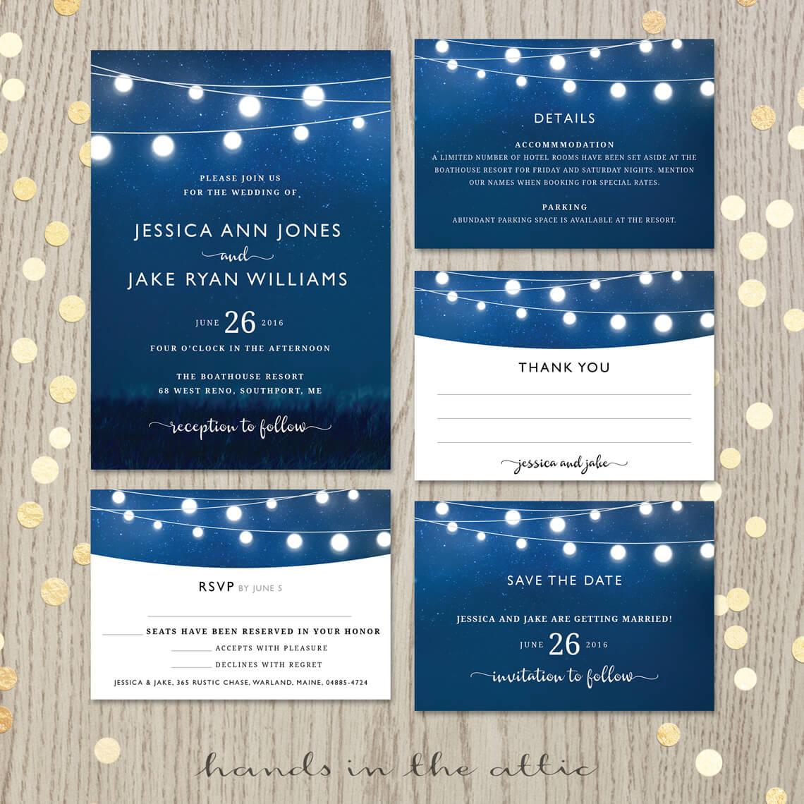Royal Blue Wedding Invitation Set Hands In The Attic