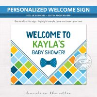 Bowtie Baby Shower Welcome Sign