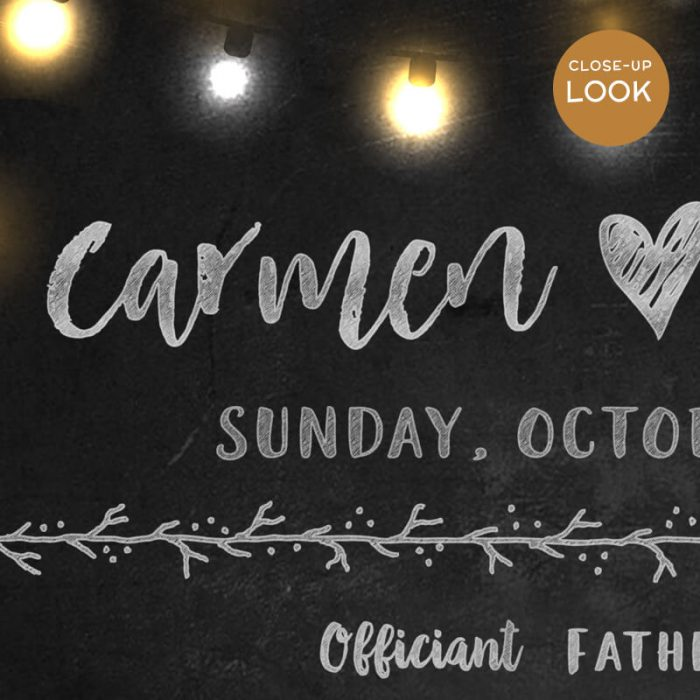 Close-up of Chalkboard Wedding Party Sign