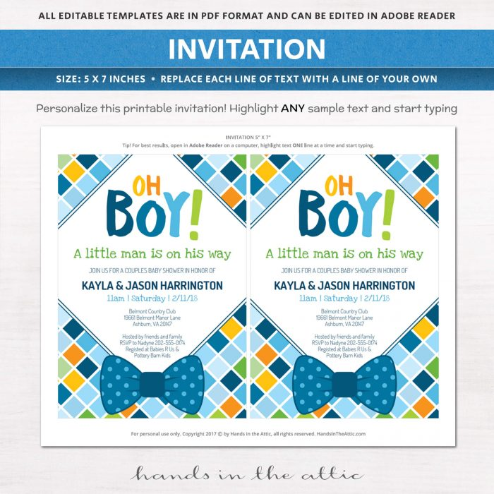 Close-up of Bow Tie Baby Shower Invitation
