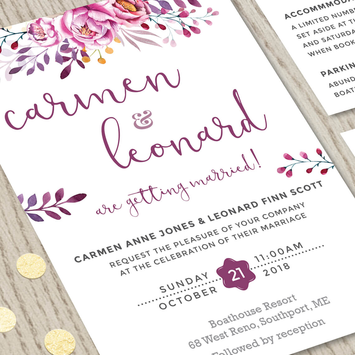 Wedding Invitation Sets: Wine Wedding Invitation Set