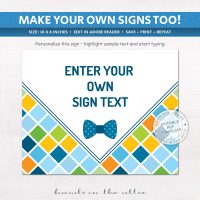 Editable Bowtie Baby Shower Sign