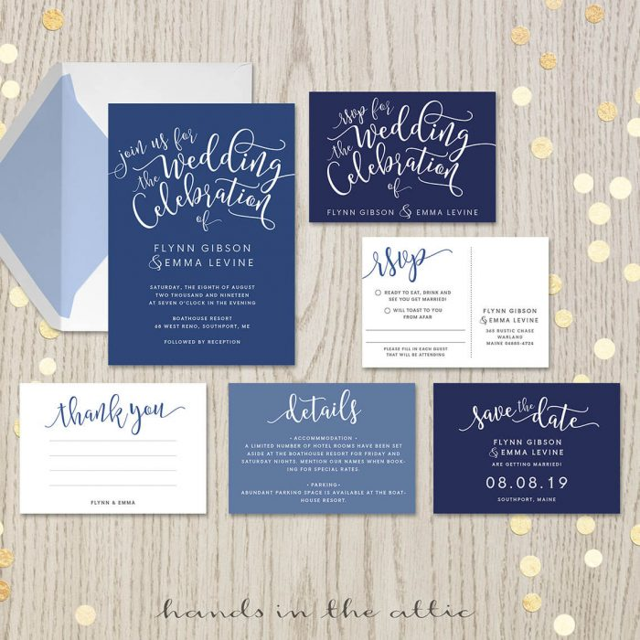 Navy Blue Wedding Invitation Set