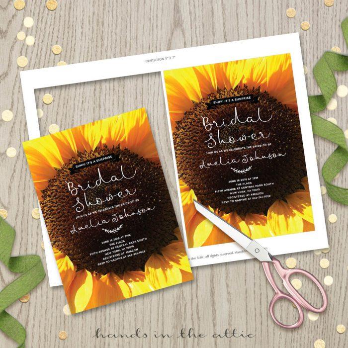 Printable Sunflower Bridal Shower Invitation