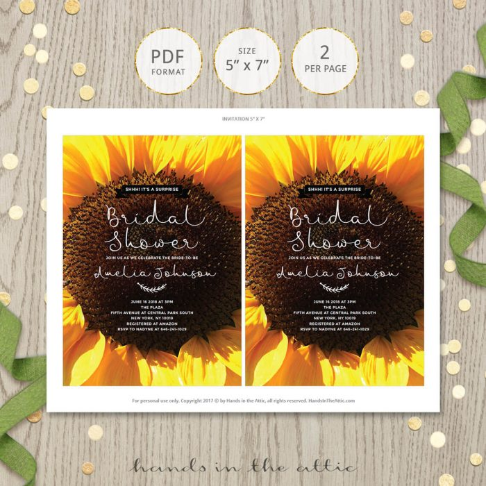 Rustic Sunflower Bridal Shower Invitation