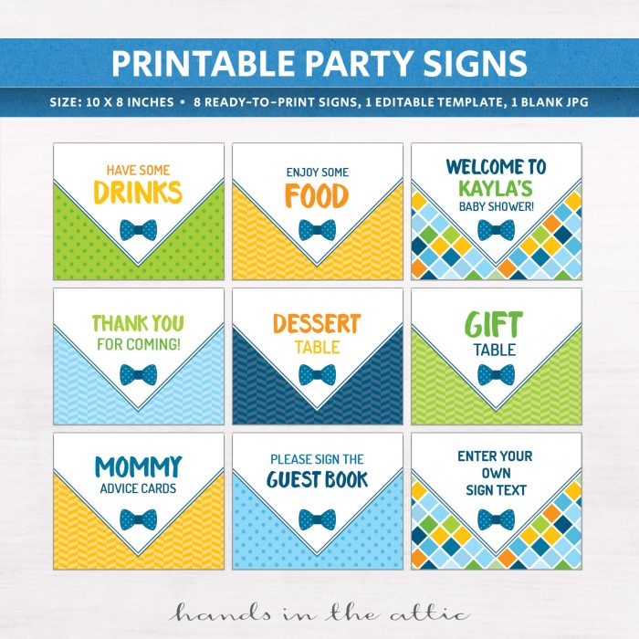 Signs in our Bowtie Baby Shower Bundle