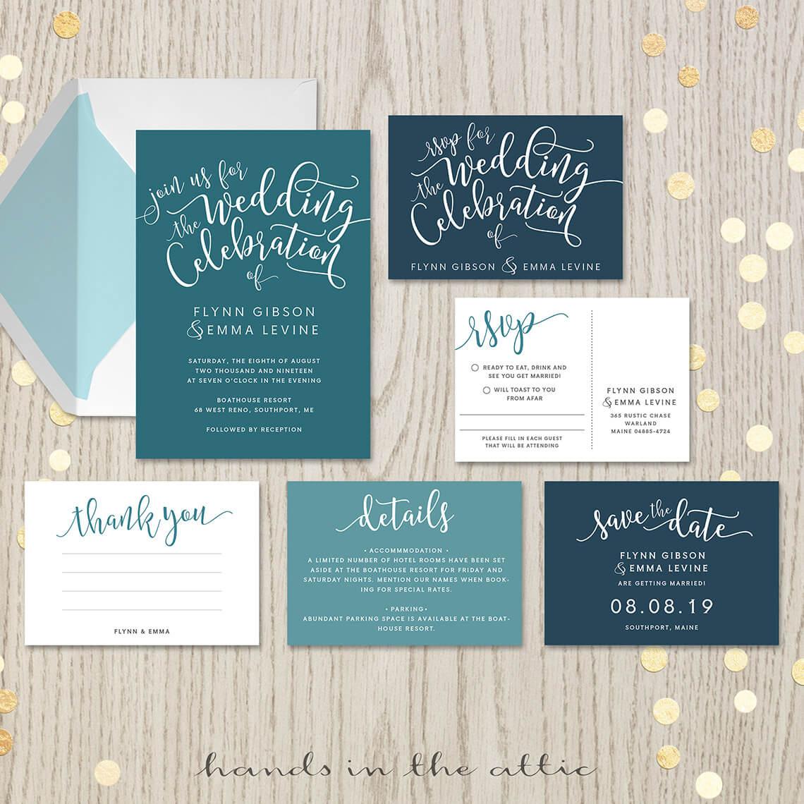 Cheap Wedding Invitations Sets: Teal Wedding Invitation Set