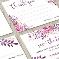 Thank you and Save the date of our Wine Wedding Invitation Set