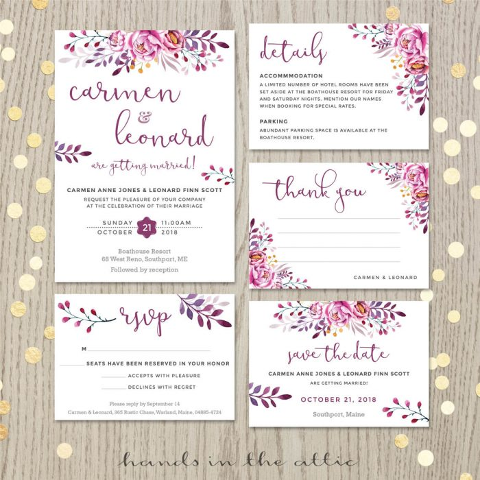 Wine Wedding Invitation Set
