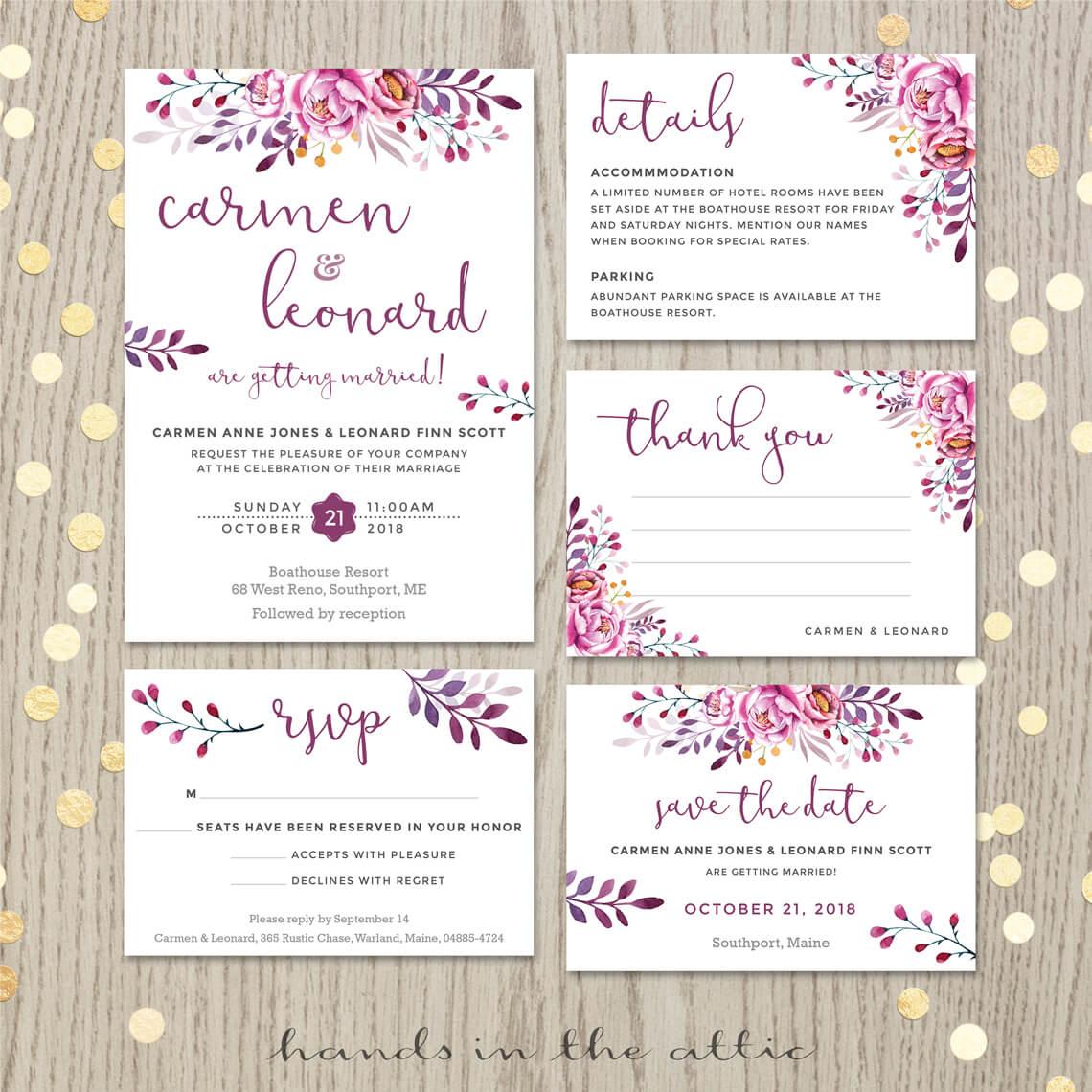 wine wedding invitation set printable stationery