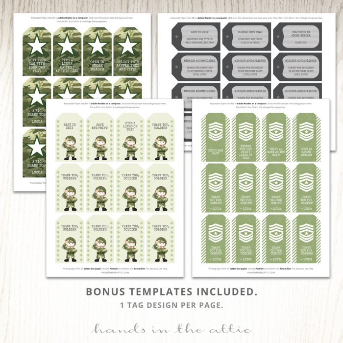 Army Party Gift Tags