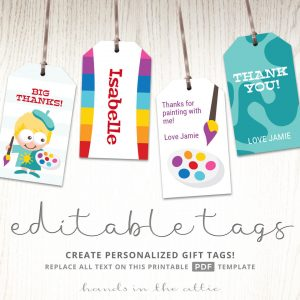 Art Themed Birthday Party Gift Tags