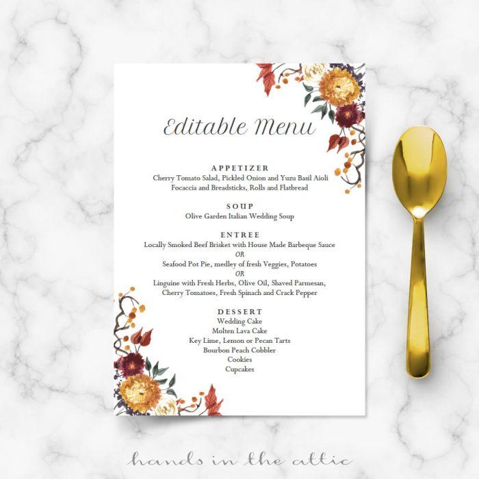 Autumn Wedding Menu Cards