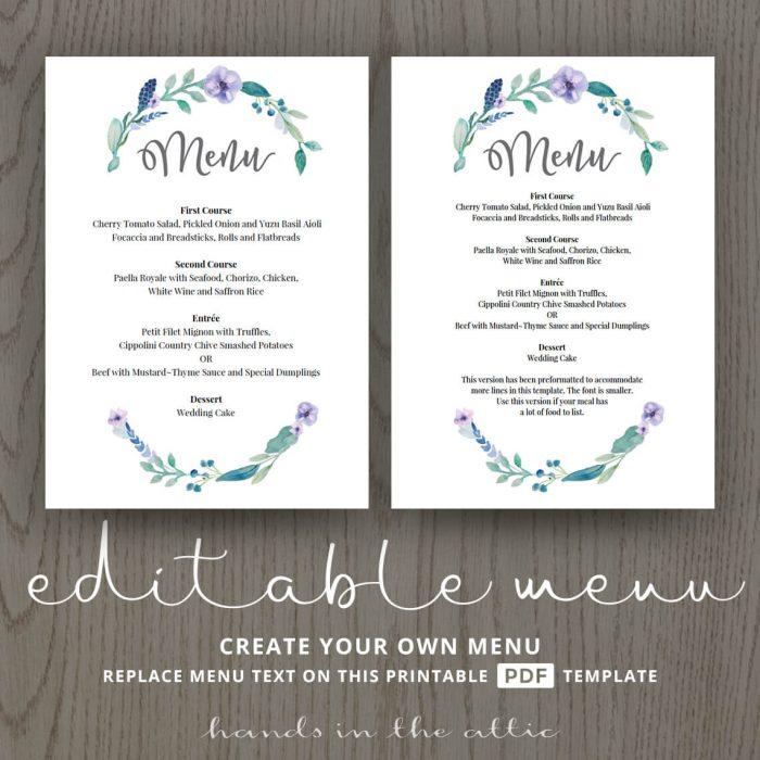 Blue Floral Wedding Food Menu Template
