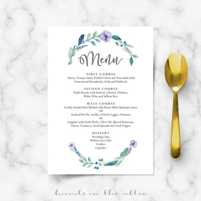 Blue Floral Wedding Food Menu Template  Wedding Menu Cards  Hands