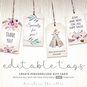 Bohemian Baby Shower Gift Tags
