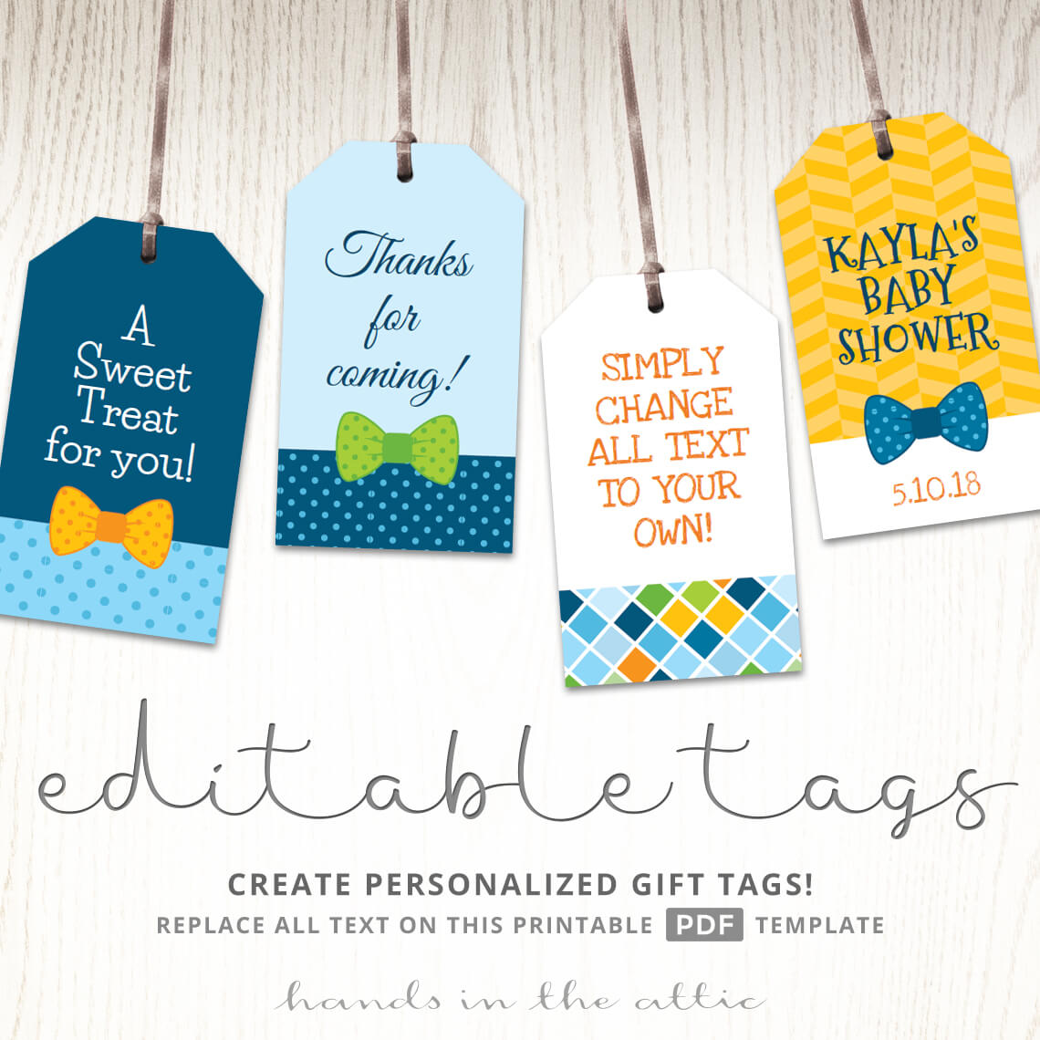 Gift Tags For A Bow Tie Baby Shower Theme Printable Tags Hands