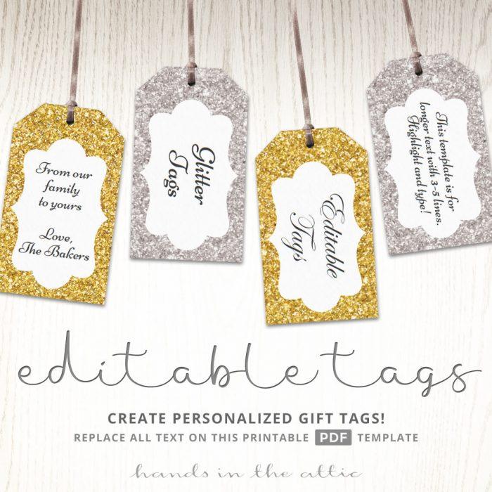 Editable Glitter Gift Tags