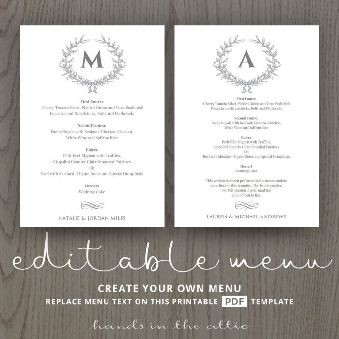 Elegant Wedding Food Menu Template