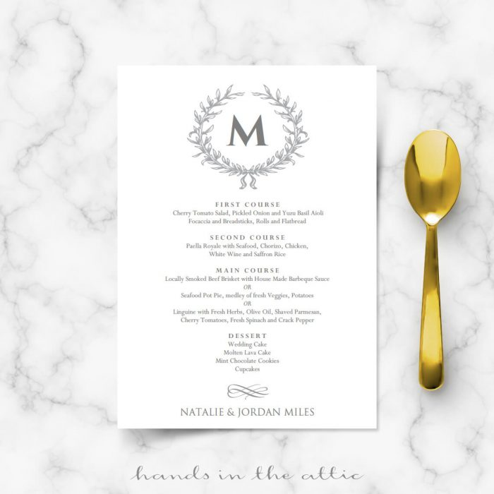 Calligraphic Wedding Brunch Menu Template  Wedding Menu Cards