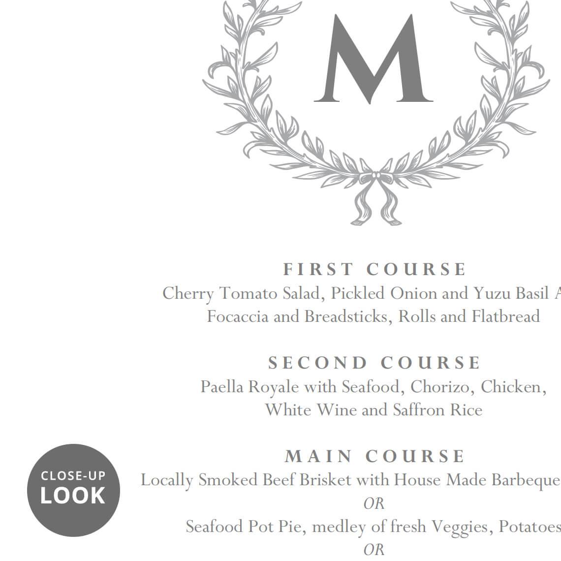 Home Weddings Wedding Menu Cards Elegant Food Template