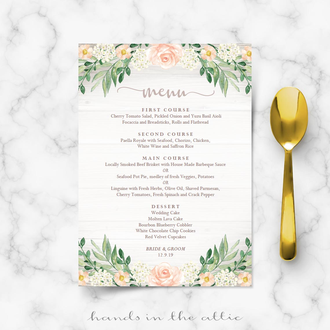 Floral Wedding Reception Menu Template Wedding Menu