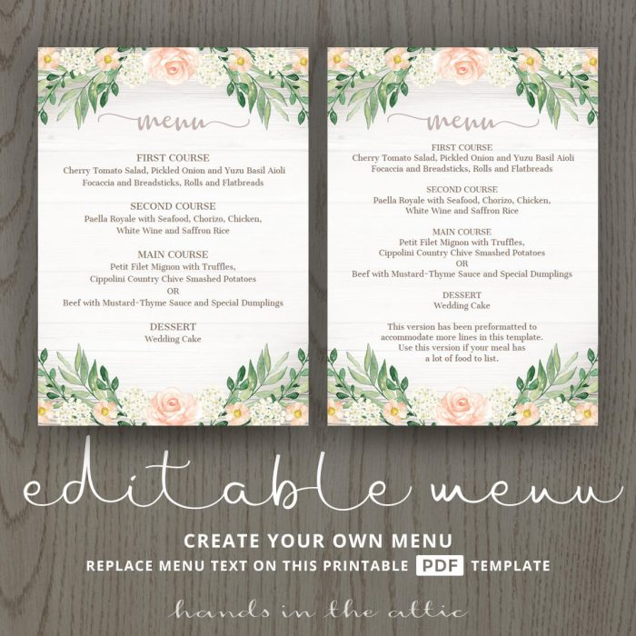 Floral Wedding Reception Menu Template