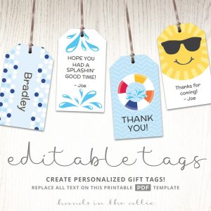 Gift Tags for Kids Pool Party Favors