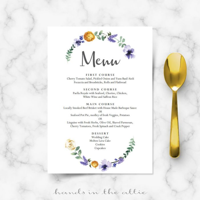 Lavender Wedding Menu Template